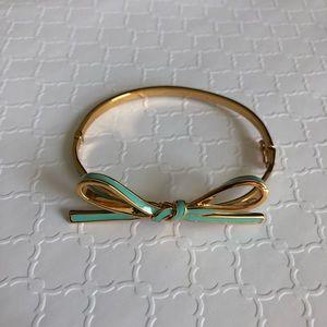 Kate Spade Blue/Turquoise Bow Bangle Hing Bracelet